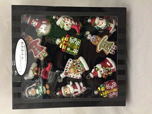 Christopher Radko 12 Pack Gift Set 2.5″ Christmas Tree Ornament Hand Crafted Glass Includes: Santa Shoe Snowman Gingerbread House Stocking etc