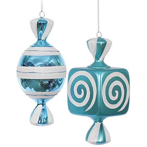 Vickerman Christmas Trees O132012 2-Piece Fat Candy Ornament Set, 8-Inch, Teal/White