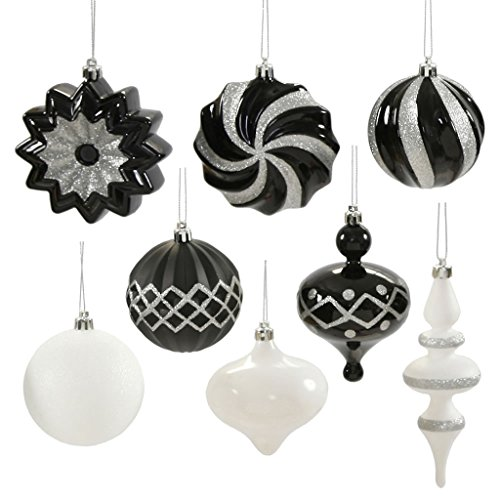 Vickerman 347584 – 3″ – 6″ Black / White Assorted Christmas Tree Ornament Set (18 pack) (N149877)