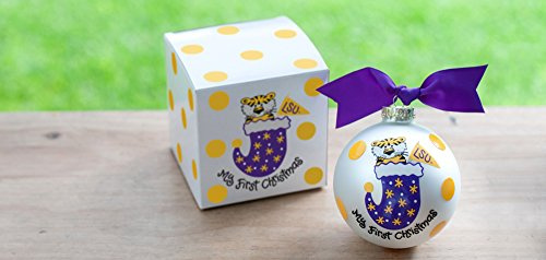 "Coton Colors LSU ""My First Christmas"" Ornament (Lsu). Any Little Fan Will Love This Lsu My First Christmas Ornament. Each Ornament Is Perfectly Packaged with a Matching Gift Box and Coordinating Tied Ribbon for Easy Gift Giving and Safe Storage."