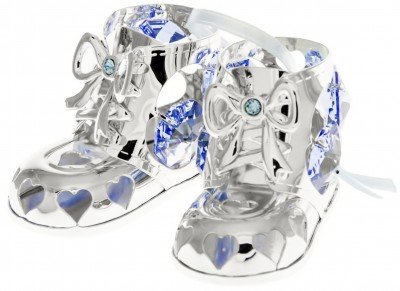 Baby Boy Booties Holiday Ornament Crystal and Silver Plated – Gift Boxed