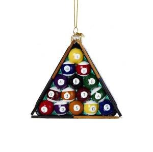 4.25″ Noble Gems Glass Pool Ball in Triangle Billiard Rack Christmas Ornament