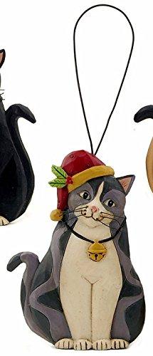 Blossom Bucket Christmas Grey & Black Tuxedo CAT in Santa Hat w/ Holly Resin Ornament