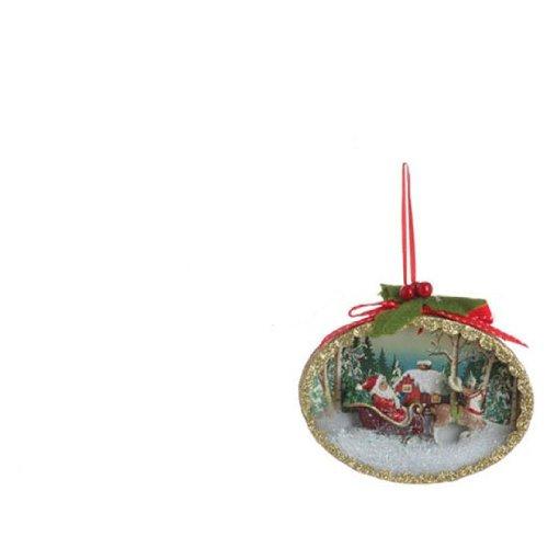 5″ Santa Claus Classics Sleigh Winter Scene Shadow Box Christmas Tree Ornament