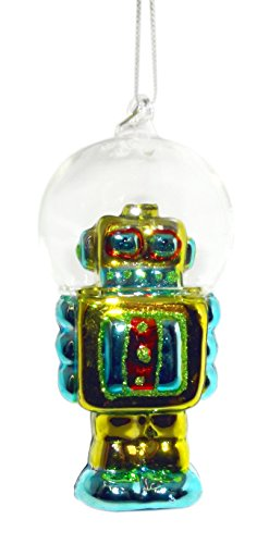 4.5″ Robot with Dome Helmet Ornament (Green)