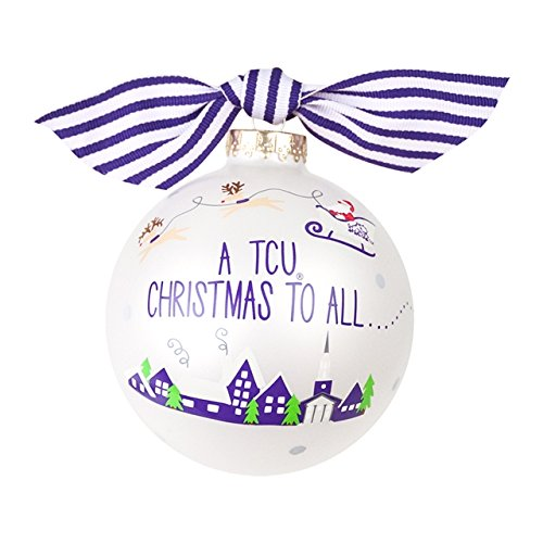 Santa's a TCU Fan Glass Ornament