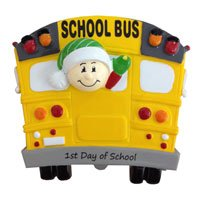 Personalized Christmas Ornaments 1st Day of School-bus
