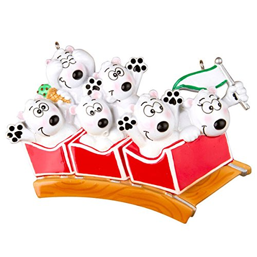Roller Coaster Family of 6 Personalized Christmas Ornament