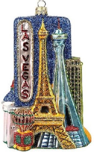 Las Vegas Nevada Travel Polish Glass Christmas Ornament