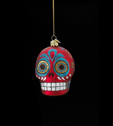 3.5″ Noble Gems Glass Day of the Dead Red Glitter Embellished Skull Halloween Christmas Ornament