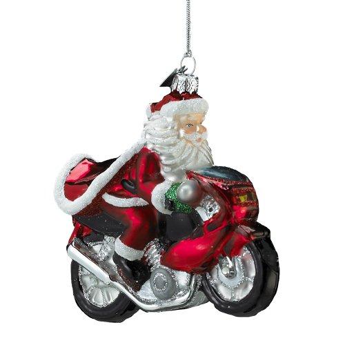 Kurt Adler Noble Gems Glass Santa on Motorcycle Ornament, 4-Inch