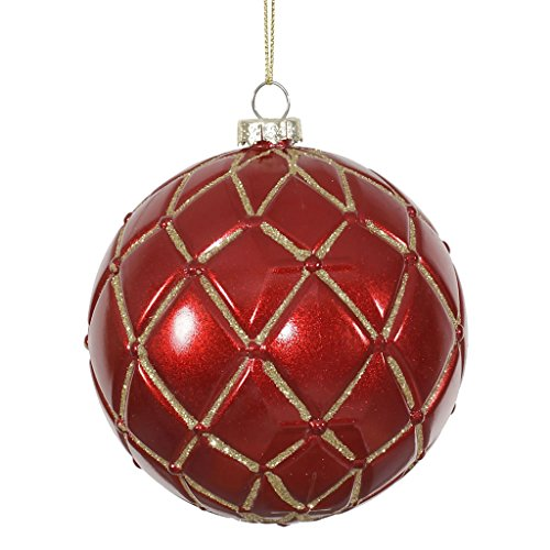 Vickerman 341667 – 4″ Red Candy Glitter Net Ball Christmas Tree Ornament (6 pack) (M145003)