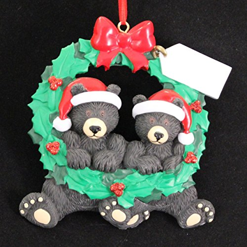 Personalized Black Bear Wreath 2 Christmas Holiday Gift Expertly Handwritten Ornament