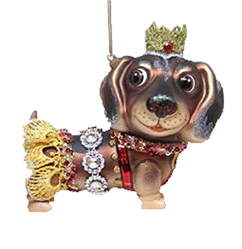 December Diamonds Blown Glass Ornament – Dachshund with Crown