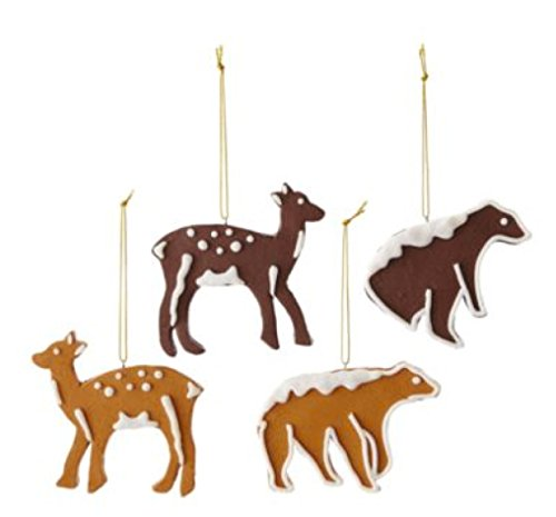 MarthaHoliday Into the Woods Set of 4 Clay Animal Christmas Ornaments
