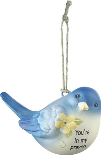 Ganz You're in my prayers Blue Bird Of Happiness Ornament Measures: 2.25″ x 2″