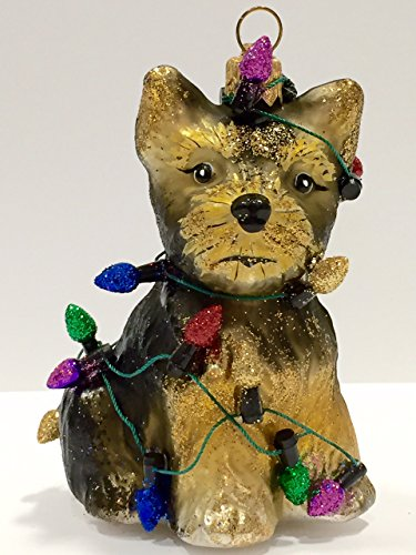 Ornaments to Remember: YORKIE PUPPY (Christmas Lights) Christmas Ornament