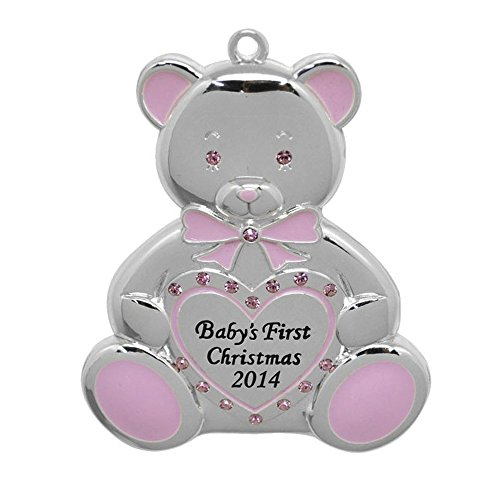 Harvey Lewis Baby's First Christmas 2014 Teddy Bear Ornament, Pink (Girl), Made with Swarovski® Elements