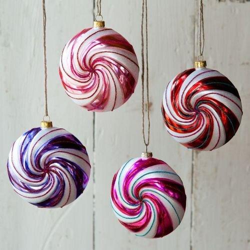 Glitterville Swirl Candy Glass Ornament 4 Assorted