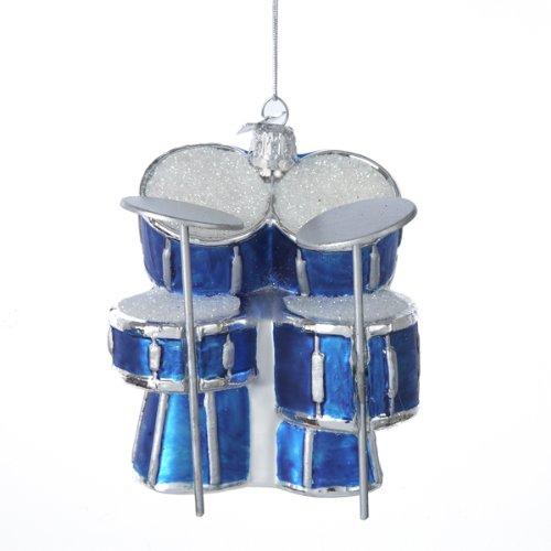 Kurt Adler Noble Gems Glass Drum Set Ornament, 3.75-Inch