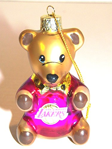 Los Angeles Lakers 3.5″ Blown Glass Teddy Bear Ornament