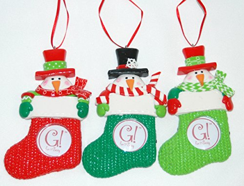 Stocking Picture Frame Ornament (Set of 3)