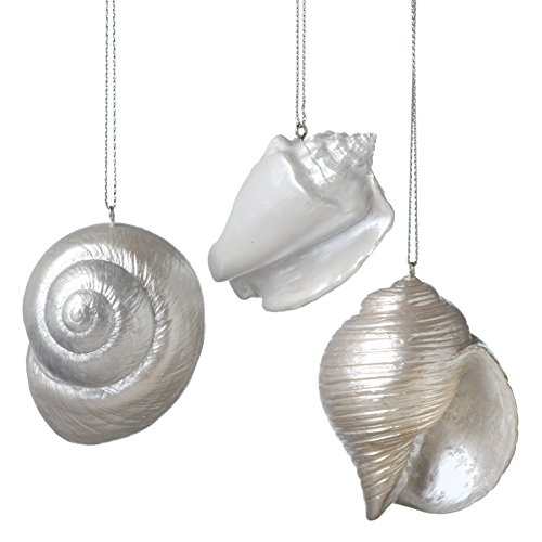 Pearl Ocean Conch Shells Set of 3 Resin Stone Christmas Tree Ornaments