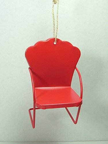 Red Metal Mid Century Lawn Chair Lounge Modern Furniture Christmas Ornament