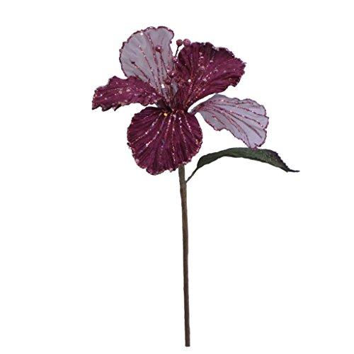 Vickerman 35551 – 21″ Mauve Velvet Sheer Hybiscus 6″ Flower Pick (O143545)