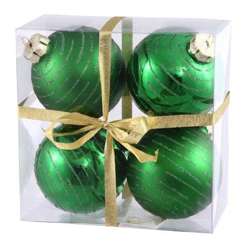 Vickerman 24662 – 3″ Green Glitter Ball Christmas Tree Ornament (4 pack) (N110804A)