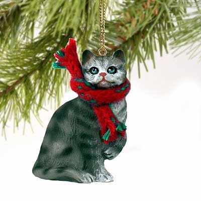 1 X Silver Shorthaired Tabby Cat Christmas Ornament
