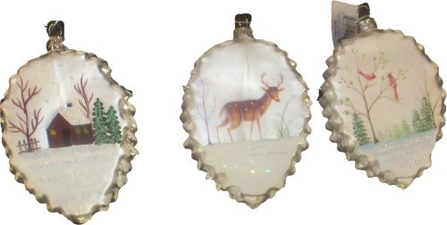 Origami Blown Glass Ornament Pinecone w/ Scene Set of 3 One Hundred 80 Degrees