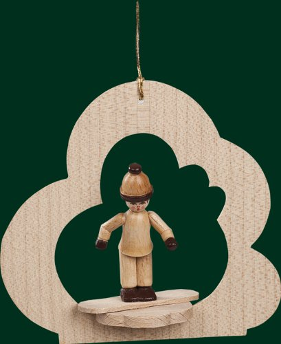 Hanging Christmas Tree Cloud Shaped Ornament Boy on Snowboard, 3.6 Inches