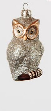 One Hundred 80 Degrees Glass Owl Ornament, Choice of Styles (Silver)