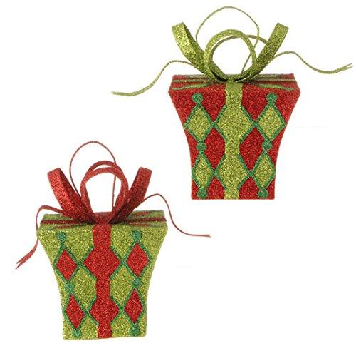 RAZ Imports – 5.5″ Glittered Christmas Present Christmas Tree Ornaments – Set of 2