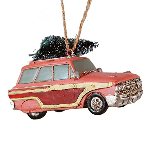 Classic Pink Car with Christmas Tree Hanging Ornament