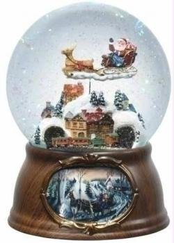 6.5″ Musical Rotating Santa Claus with Train Christmas Snow Globe Glitterdome Music Plays Jingle Bell Rock