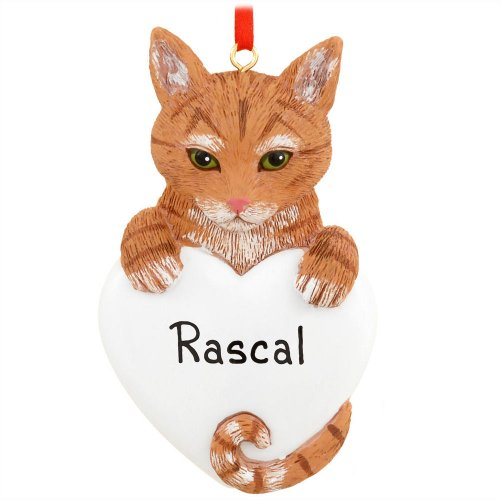 8278 Tabby Cat Orange Hand Personalized Christmas Ornament