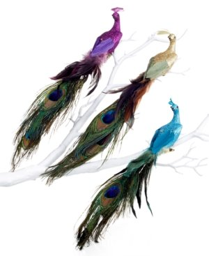 Holiday Lane Set of 3 Peacock Bird Clip On Ornaments
