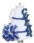 Blue Cheerleader Uniform Ornament