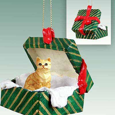 Red Tabby Christmas Ornament Hanging Gift Box
