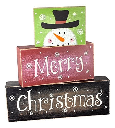 """Ganz Set of 3 Stackable """"Merry Christmas"""" Wooden Blocks with Snowman"""