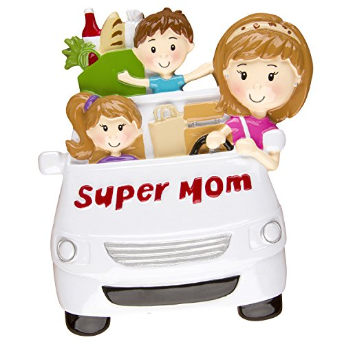 Personalized Christmas Ornament SUPER MOM with kids MINIVAN