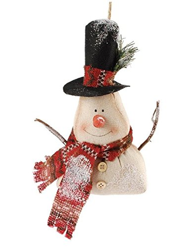 Blossom Bucket Snowman Ornament with Top Hat/Scarf Christmas Decor, 8-3/4″