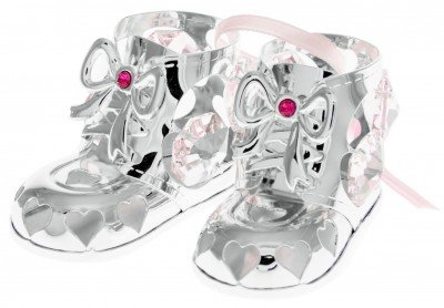 Baby Girl Booties Holiday Ornament Crystal and Silver Plated – Gift Boxed