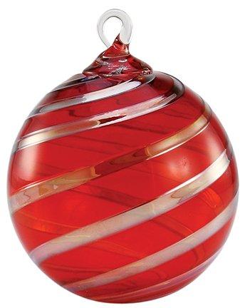 Glass Eye Studio Hand Blown Glass Ornament Designer Series – Red Platinum Twist