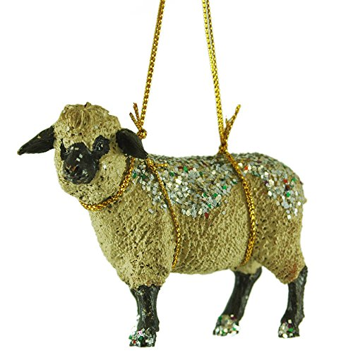 Glitter Sheep Resin Hanging Christmas Tree Ornament