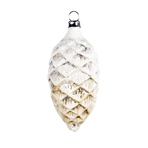 "Vintage mouthblown Christmas Glass ornament ""Cone"" with snowglitter, antique white by MAROLIN® Germany"
