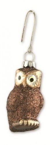 Bethany Lowe Christmas – Pastel Brown Glitter Glass Owl Ornament LG0749