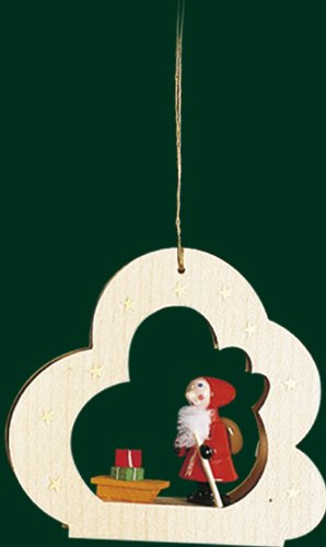 Hanging Christmas Tree Cloud Shaped Ornament Santa with Sledge, 3.6 Inches
